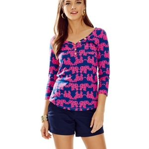XS Lilly Pulitzer Pack Your Trunk 3/4 sleeve shirt